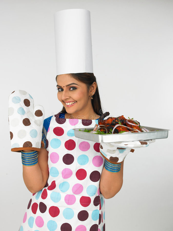 Download Woman Chef With Baked Chicken Stock Image - Image: 6903709