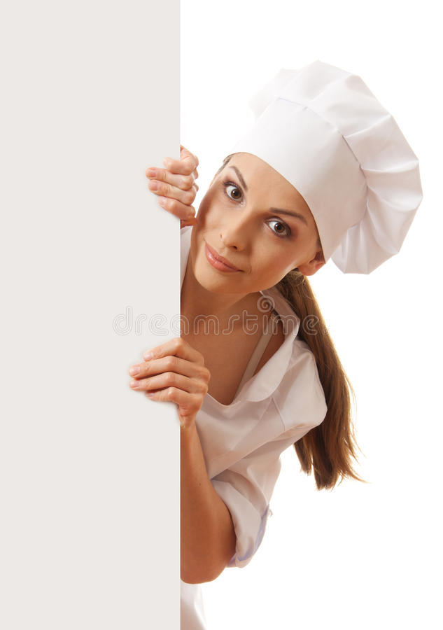 Woman chef, baker or cook holding white paper sign. Woman cook holding paper sign, isolated on white background stock photo