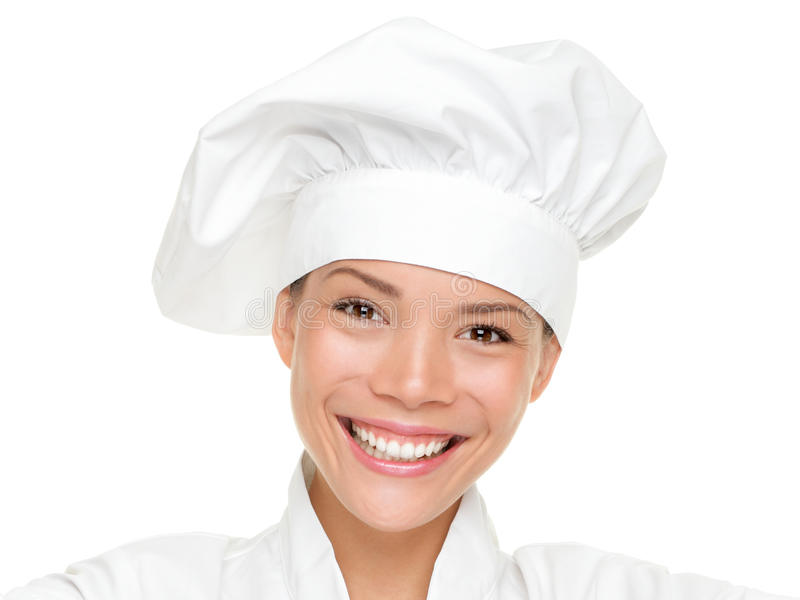 Woman chef, cook or baker portrait isolated. Woman chef, cook or baker portrait. Beautiful young mixed race Chinese Asian / Caucasian female chef wearing chef stock photo