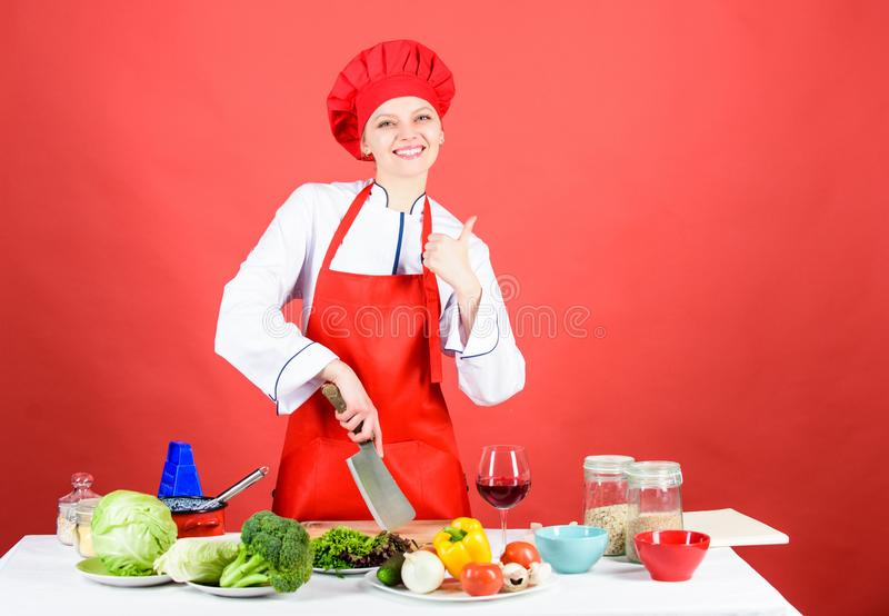 Woman chef hold sharp knife. Chop food like pro. Knife skills concept. Sexy aphrodisiac dinner recipes. Choose proper. Knife. Best knives to buy. Dangerous lady stock images