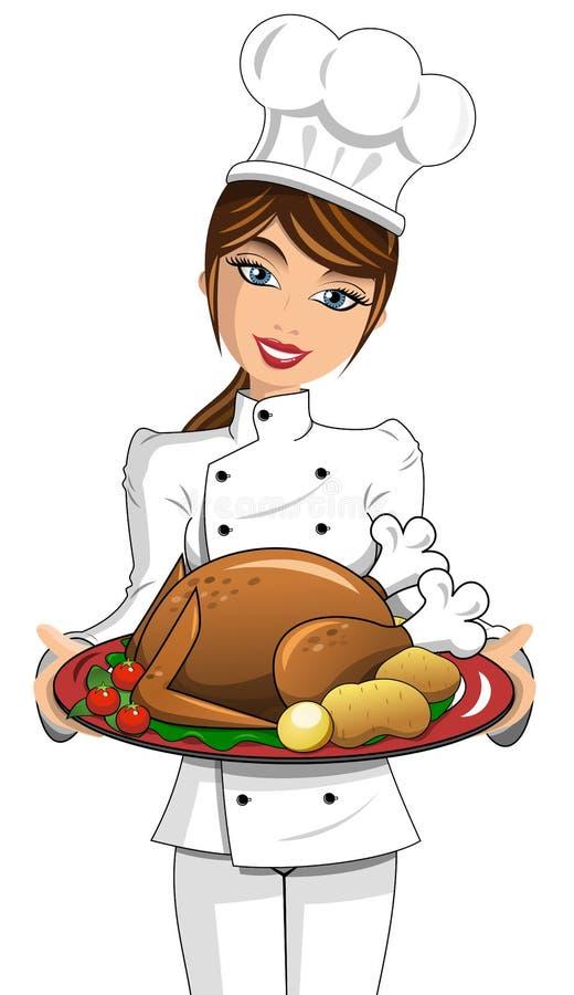 Woman Chef roasted turkey thanksgiving stock illustration