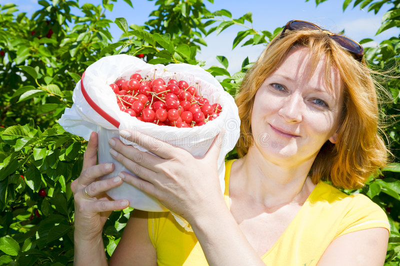 Download Woman with cherries stock photo. Image of white, happy - 5964388