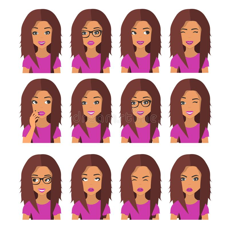 Woman with chestnut hair and emotions. User icons. Avatar Vector illustration stock illustration