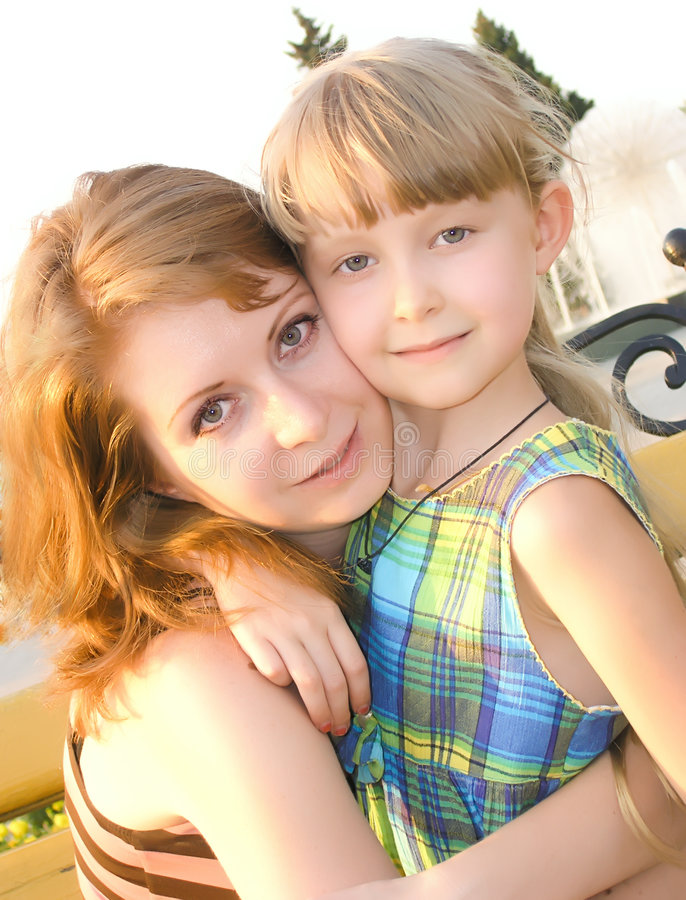 Woman with the child stock photo