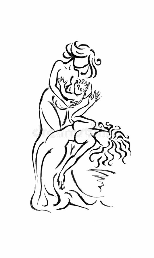 Woman with child. Graphical Illustration stock illustration
