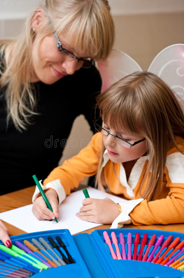 Woman And Child Drawing Stock Photos