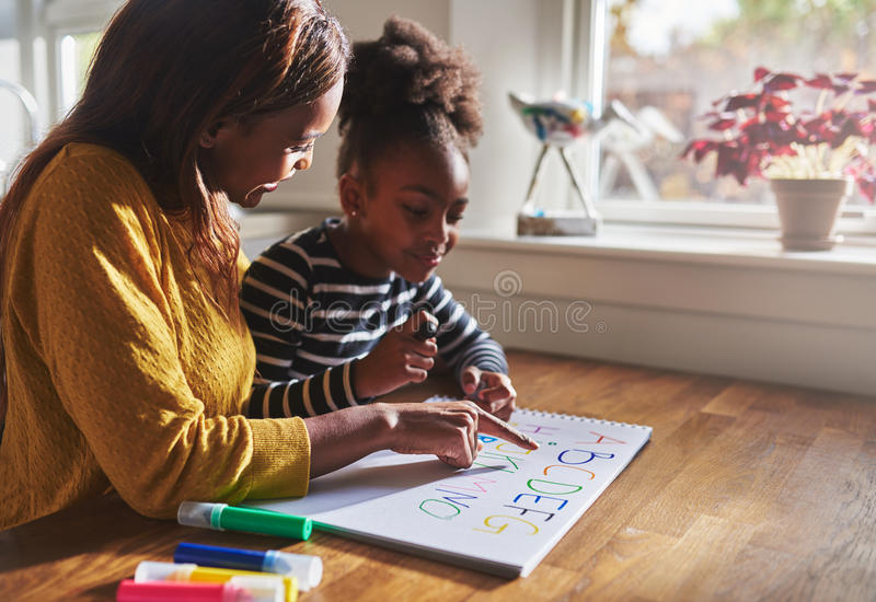 Woman and child learning alphabet. At home, black mother and daughter stock image