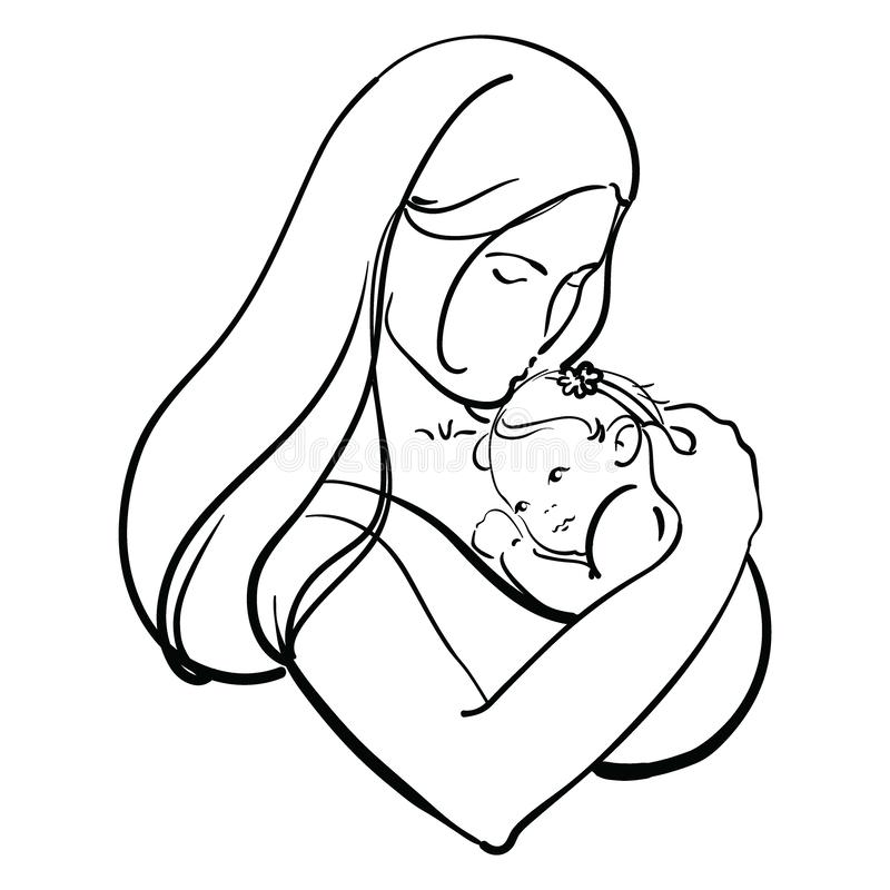 Woman With A Child Logo Of A Young Mother With A Baby In Her Hands Black And White Illustration Of A Mother Hugging Stock Vector Illustration Of Hair Concept 158059227