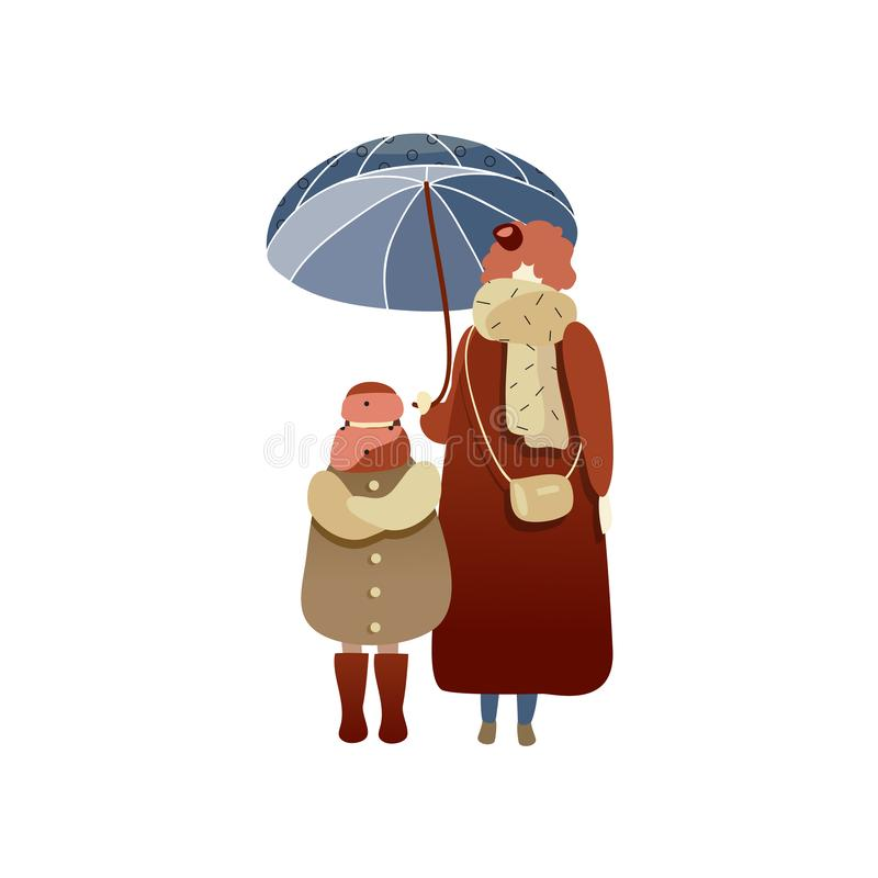 Woman and child standing under blue umbrella. People in warm clothing. Rainy weather. Autumn season. Trendy vector vector illustration