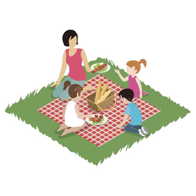 Woman and children having picnic royalty free illustration