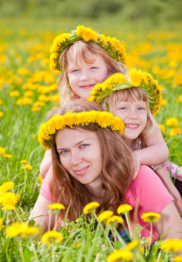 Woman with children outdoors royalty free stock photography
