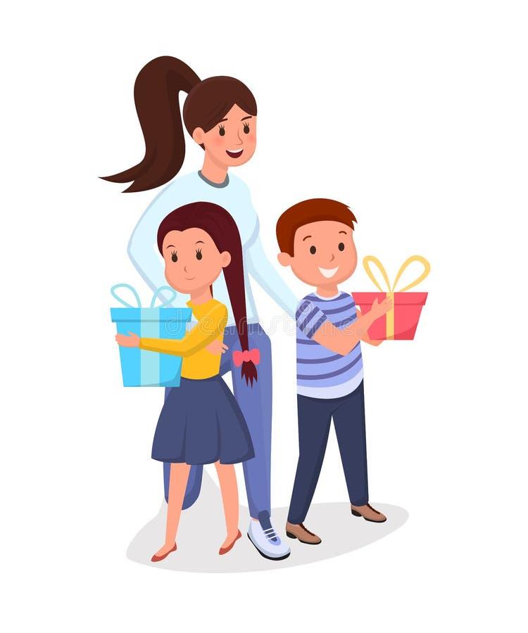 Woman, children with presents flat illustration stock illustration