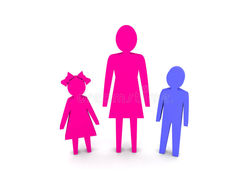 Woman with children. Single-parent family. Concept 3D illustration stock illustration