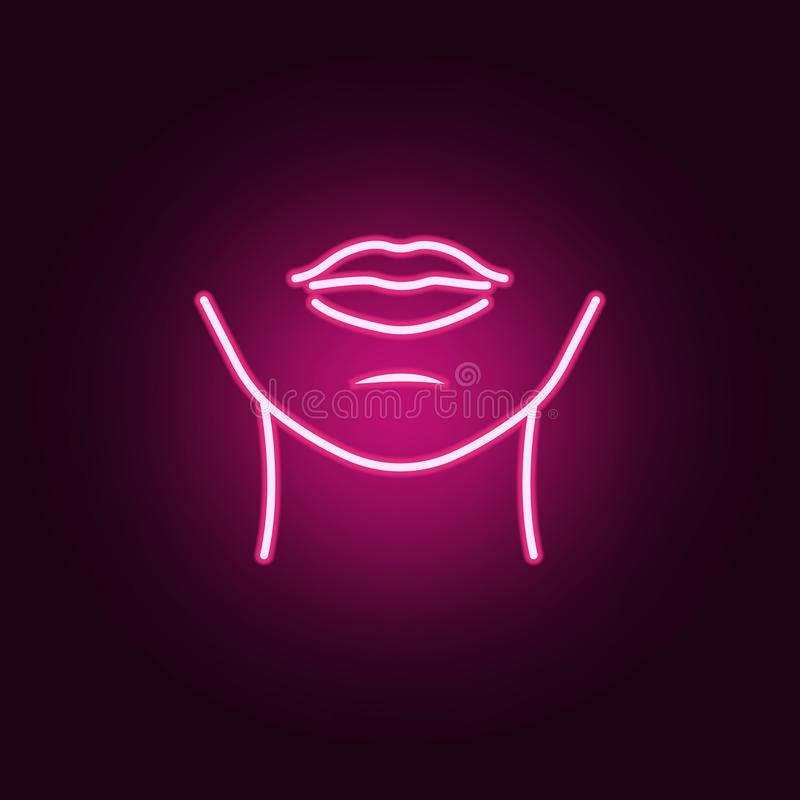 Woman chin neon icon. Elements of body parts set. Simple icon for websites, web design, mobile app, info graphics. On dark gradient background royalty free illustration
