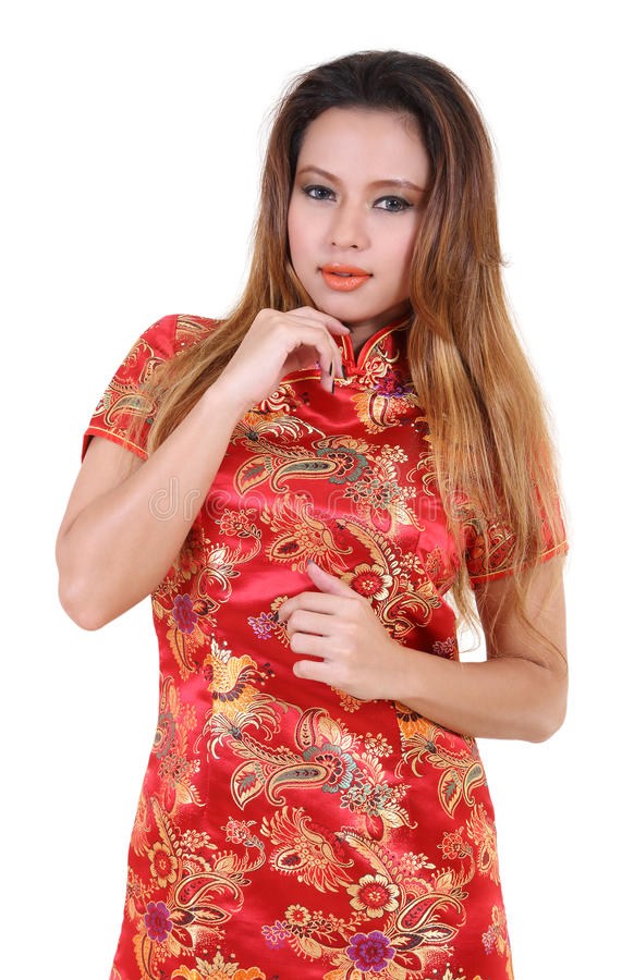 Woman and chinese dress royalty free stock photo