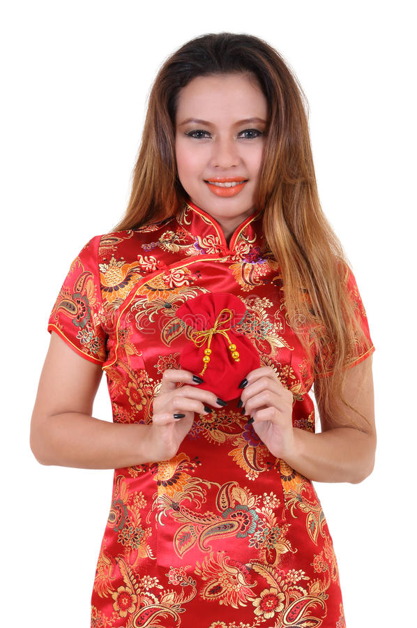 Woman and chinese dress royalty free stock images