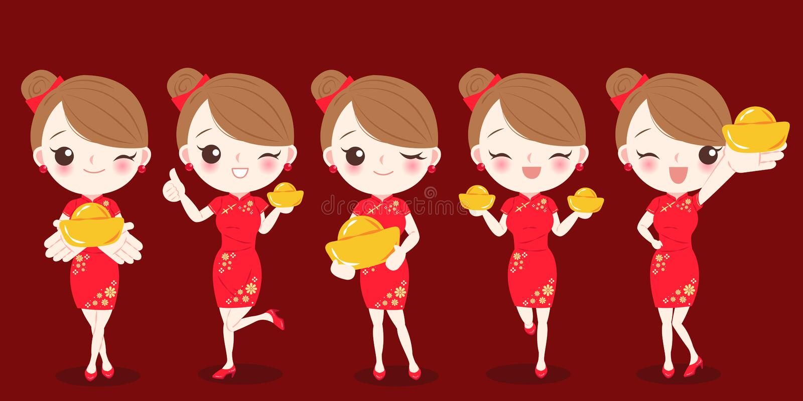 Woman with chinese new year royalty free illustration