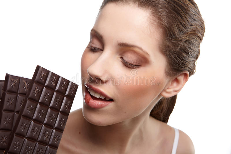 Download Woman with a chocolate stock photo. Image of life, brushes - 18255360