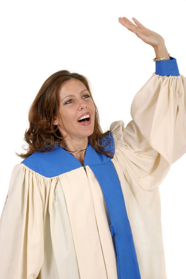 Download Woman In Choir Robe Praising God 2 Stock Image - Image: 1063635
