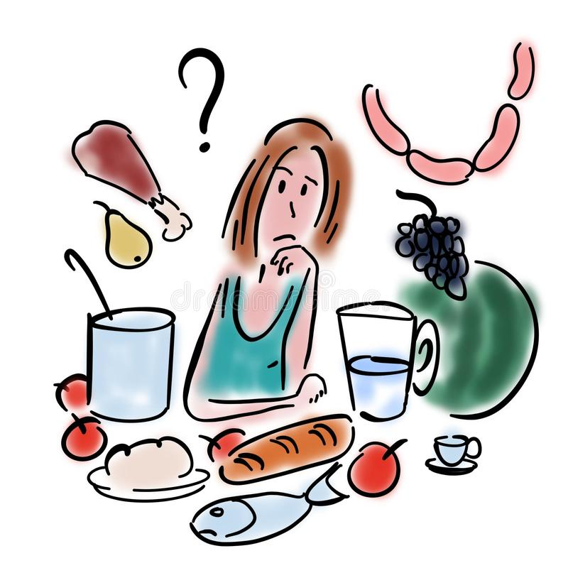 Woman chooses food royalty free illustration