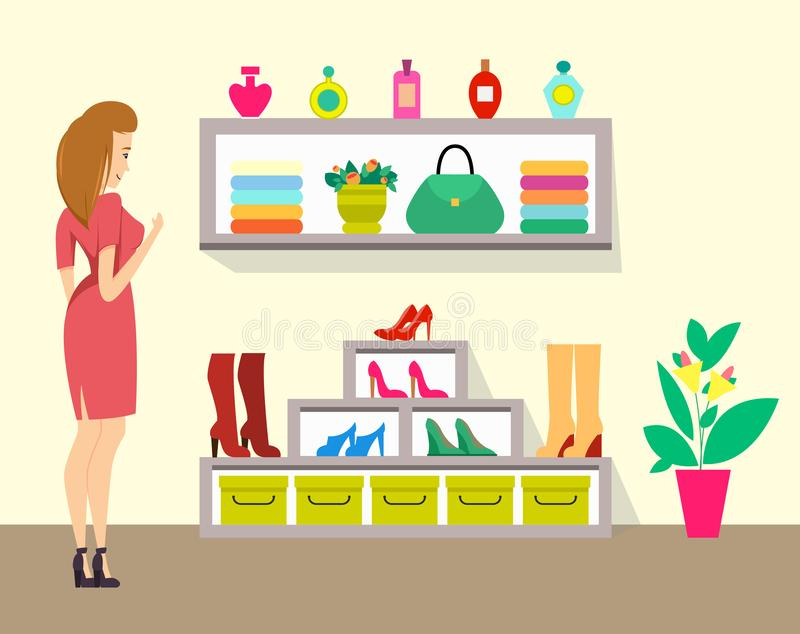 Woman Choosing Boots in Store, Ladies Shop Vector vector illustration