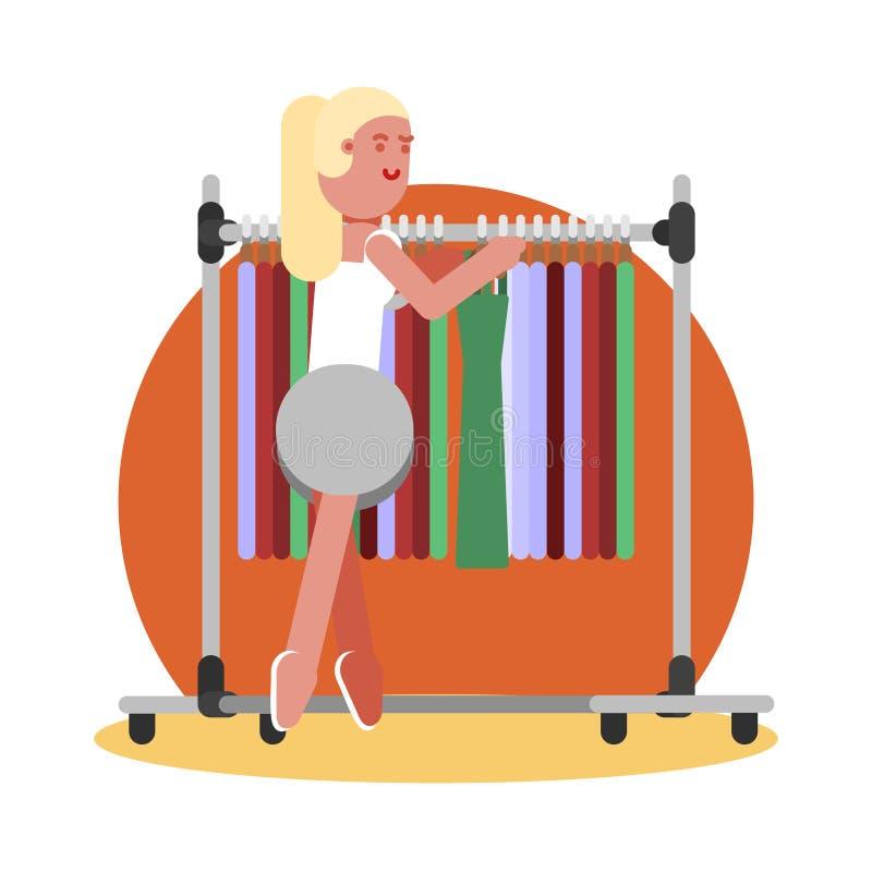 Woman choosing clothing stock illustration