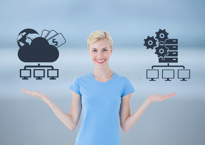 Woman choosing or deciding cloud storage or servers with open palm hands. Digital composite of Woman choosing or deciding cloud storage or servers with open palm royalty free stock photos