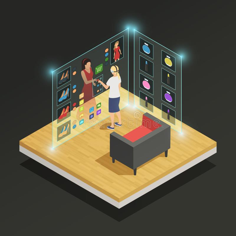 Augmented Reality Isometric Composition stock illustration
