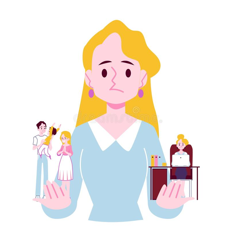 Woman choosing between family responsibilities and career flat vector isolated. stock illustration