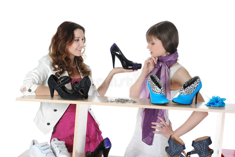 Woman Choosing Shoes At A Store Stock Photography