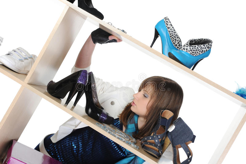 Download Woman Choosing Shoes At A Store Stock Photo - Image: 16957424