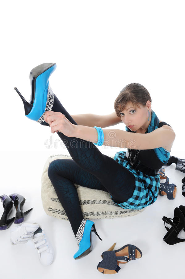 Download Woman Choosing Shoes At A Store Stock Photo - Image: 16957468