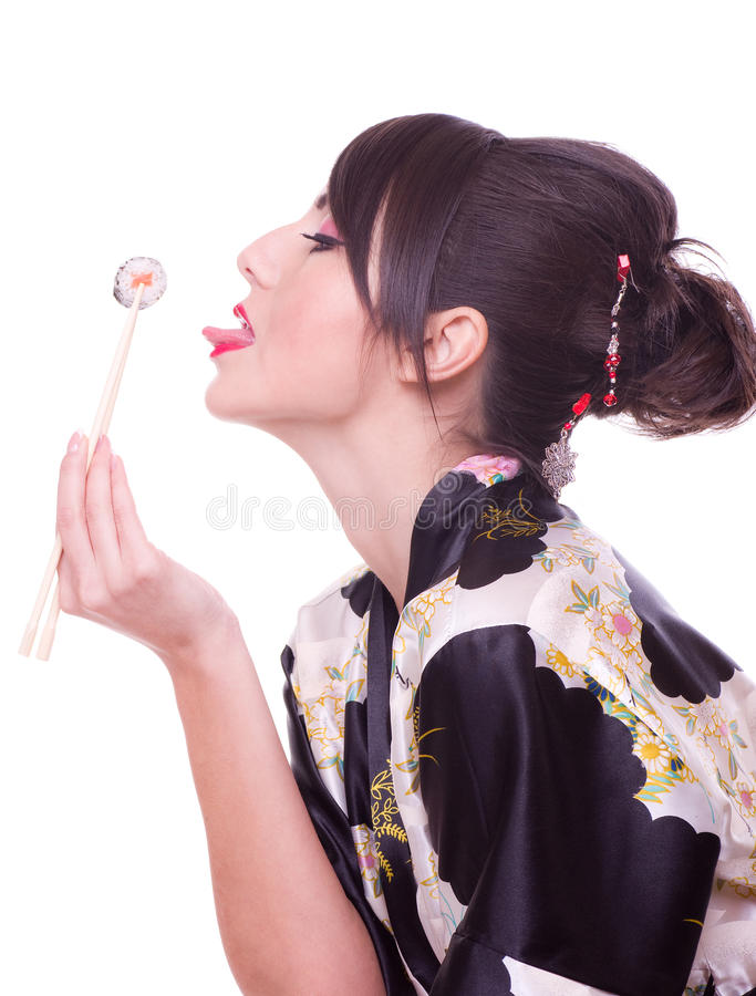 Download Woman  With Chopsticks And Sushi Stock Image - Image: 23206107
