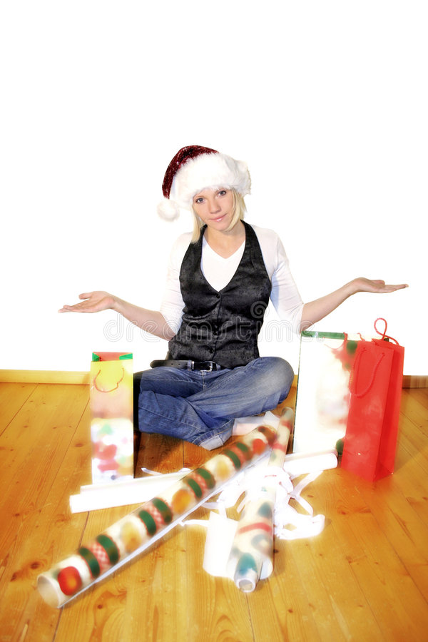 woman on christmas stock photography