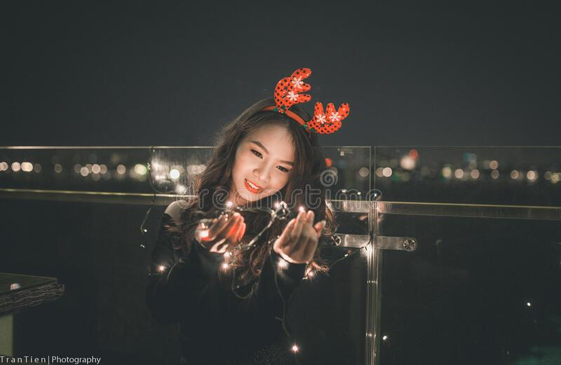 Woman With Christmas Antlers Free Public Domain Cc0 Image