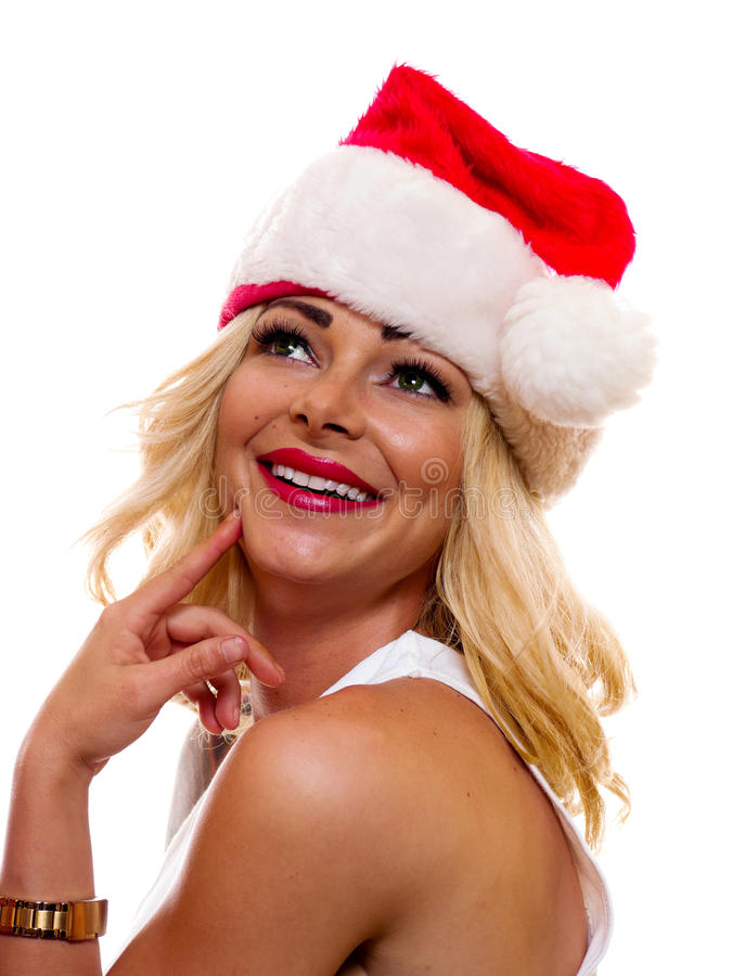 Woman in Christmas Cap. royalty free stock images