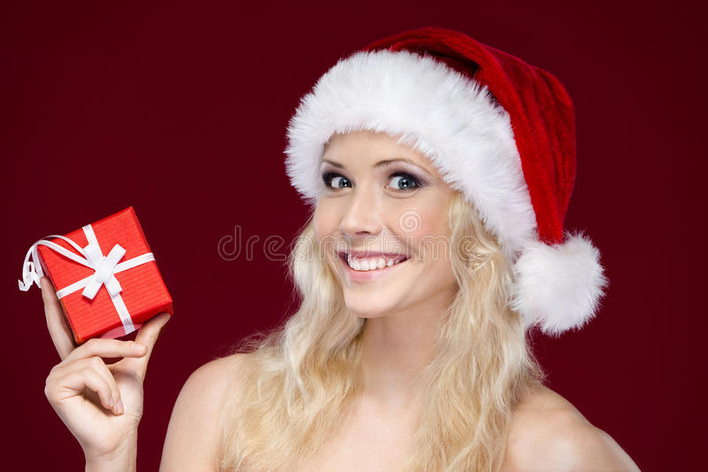 Download Woman In Christmas Cap Hands Present Stock Image - Image of claus, girl: 26219895