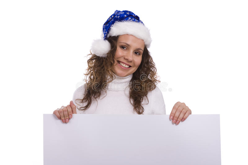 Download Woman In Christmas Cap Holding Blank Informational Stock Photo - Image: 11688350