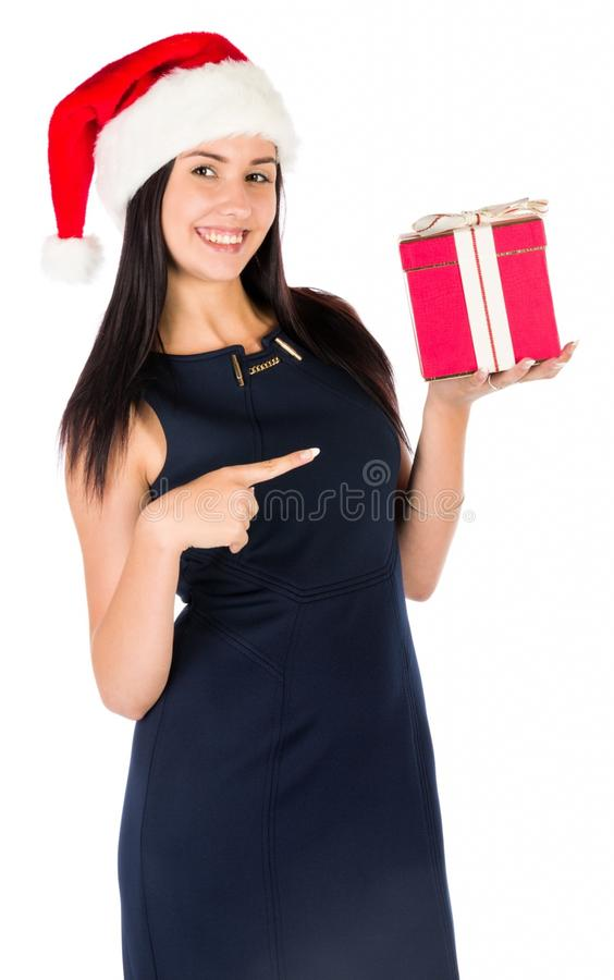 Woman With A Christmas Gift stock photography