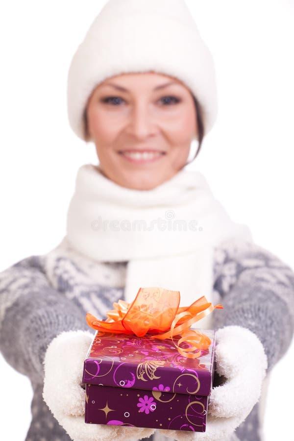 Download Woman With Christmas Gift Box Stock Image - Image: 27607555