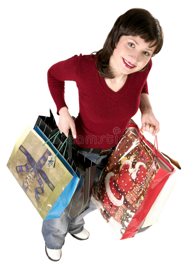 Download Woman with christmas gifts stock photo. Image of shopping - 1407600