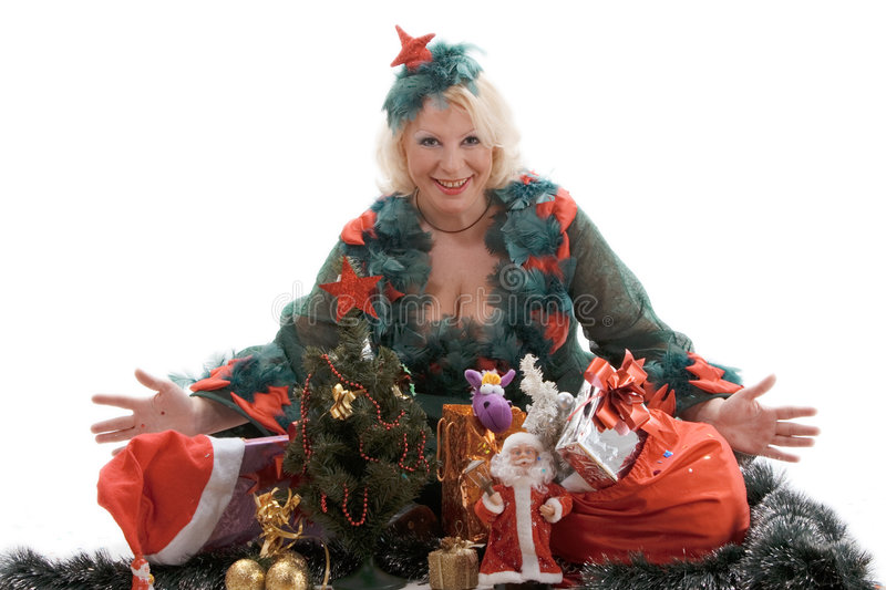 The woman with Christmas gifts