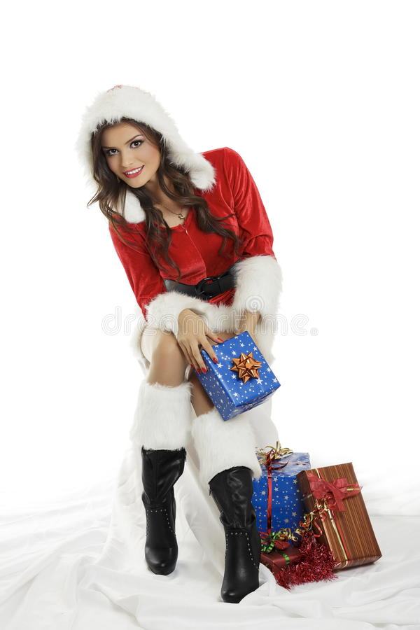 Woman with Christmas gifts stock photography