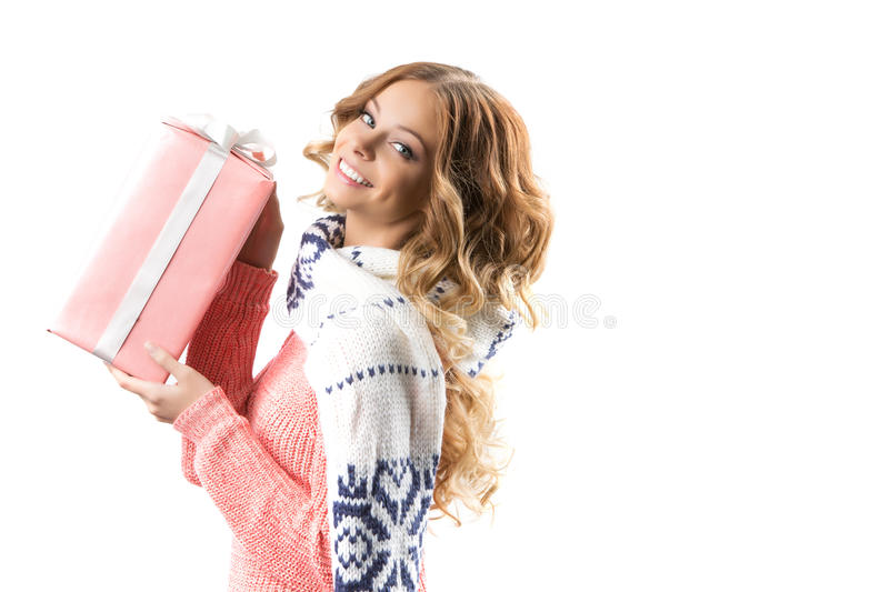 Woman with Christmas gifts stock images