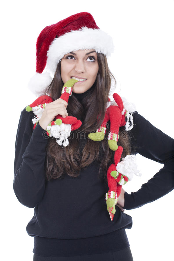 Woman with christmas hat royalty free stock image