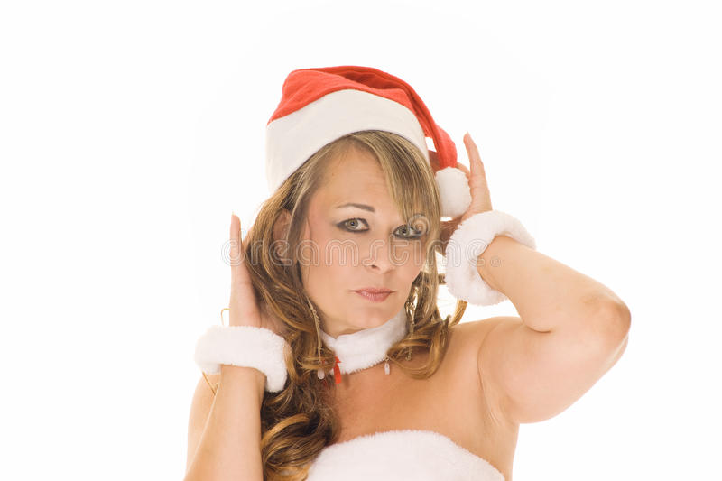 Woman in christmas outfit stock photo