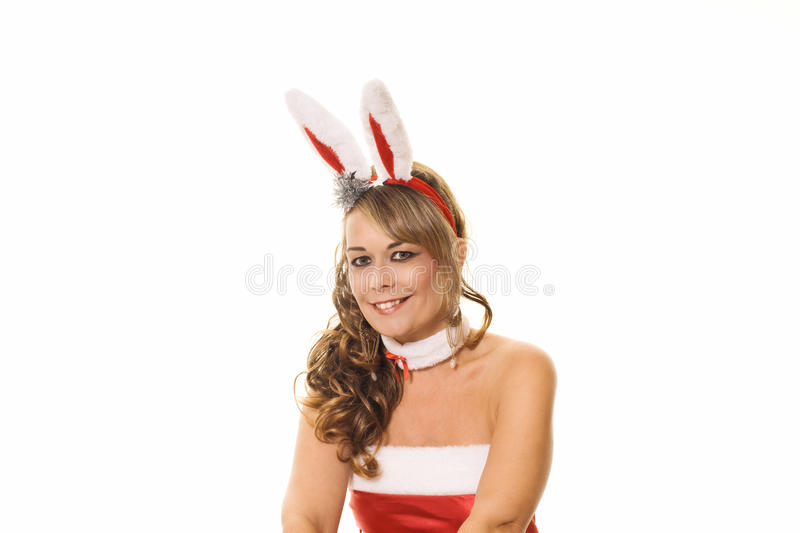 Woman in christmas outfit royalty free stock photography