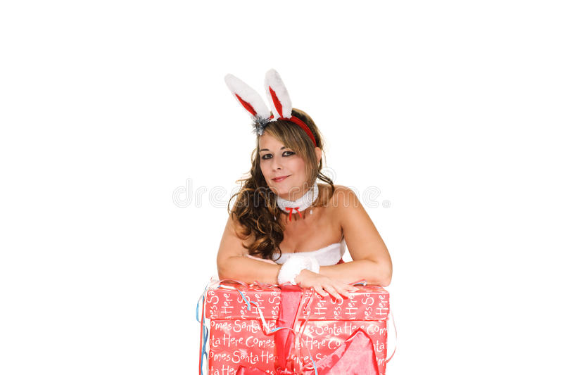 Woman in christmas outfit royalty free stock photo