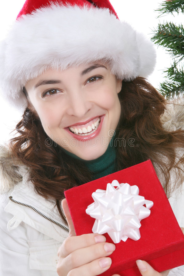 Download Woman With Christmas Present Royalty Free Stock Images - Image: 3814719