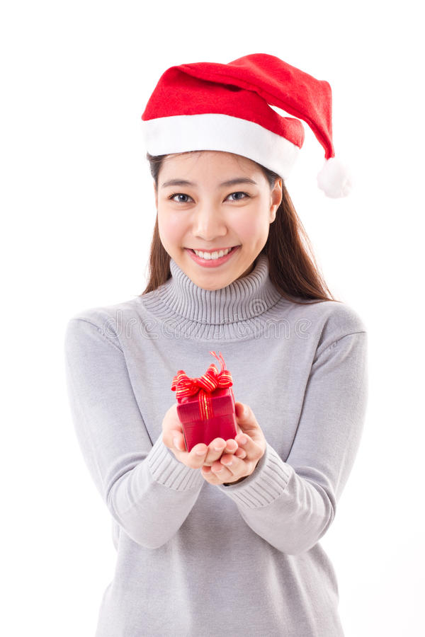 Woman with christmas red gift box royalty free stock photography